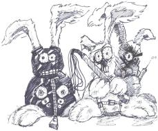 The beastly bounders of Furrynutt Forest. Illustration by Brian Richardson.